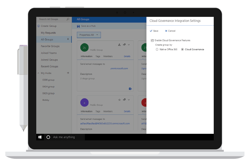 Manage Groups in Office 365 with GroupHub - Interface