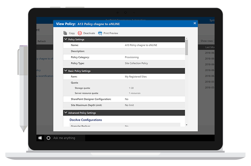 Governance Automation Interface for SharePoint and Office 365