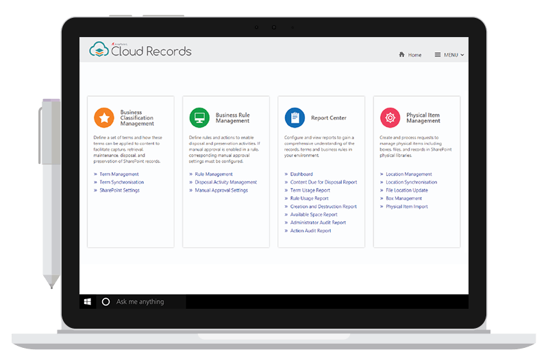 Records User Interface for SharePoint and Office 365