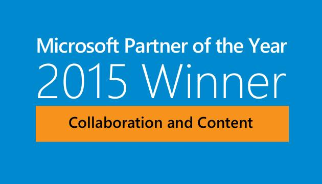 AvePoint Wins 2015 Microsoft Partner of the Year Award for Collaboration and Content